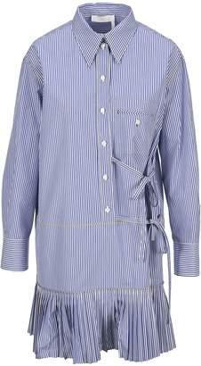 Chloé Ruffle Trim Pinstripe Shirt Dress