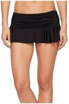 Lauren Ralph Lauren Solid Ruffle Skirted Hipster Bottom (Black) Women's Swimwear
