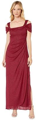 Alex Evenings Long Glitter Mesh Cold Shoulder Dress (Smoke) Women's Dress