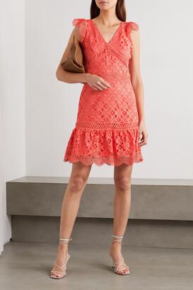 MICHAEL Michael Kors - Ruffled Crocheted Lace Mini Dress - Orange