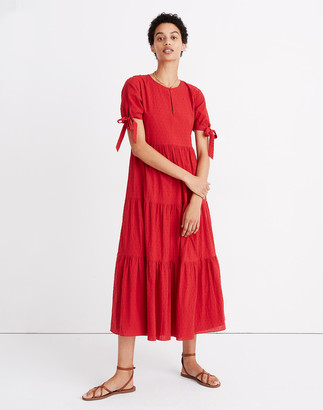 Madewell Tie-Sleeve Tiered Midi Dress in Swiss Dot