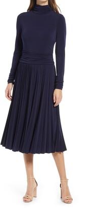 Eliza J Pleated Mock Neck Long Sleeve Midi Dress