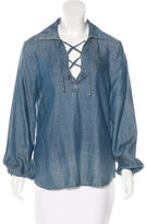 Frame Lace-Up Denim Top w/ Tags