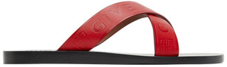Givenchy Red Criss-Cross Logo Sandals