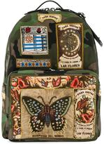 Valentino patch appliqued backpack - men - Cotton/Leather - One Size