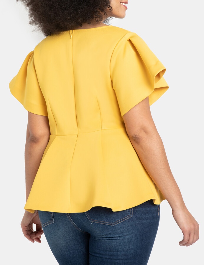 Thumbnail for your product : ELOQUII Pleated Sleeve Peplum Top