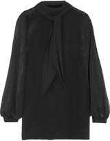 Badgley Mischka Silk-crepe and chiffon blouse