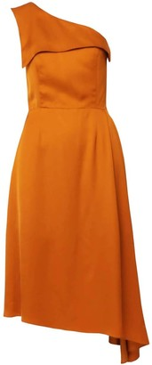 Dalb Mirage One-Shoulder Orange Midi Dress With Side Pleat