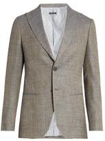 Giorgio Armani Peak-lapel Wool, Linen And Silk-blend Blazer