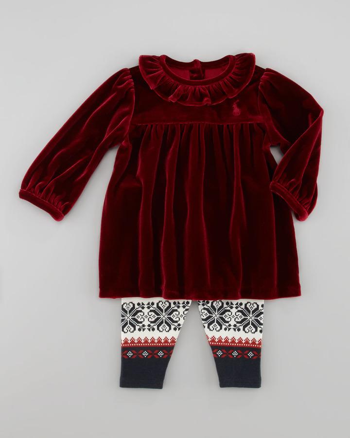 Ralph Lauren Velvet Tunic & Sampler-Print Leggings Set