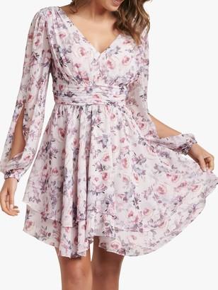 Forever New Taylor Floral Split Sleeve Skater Dress, Pink/Multi