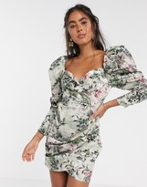 Asos EDITION cocktail mini dress with puff sleeve in shadow floral print