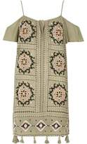 River Island Womens Khaki green embroidered cold shoulder dress