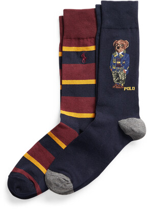 Ralph Lauren Polo Bear Plaid Crew Sock 2-Pack