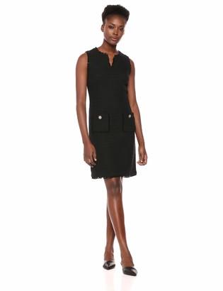 Karl Lagerfeld Paris Women's Tweed Shift Dress with Pockets Noir 8