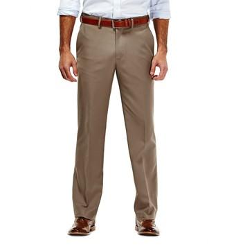 Haggar Men's No Iron Solid Straight-Fit Flat-Front Dress Pants