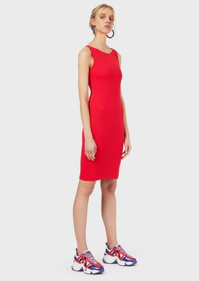 Emporio Armani Knitted Sheath Dress With A Wavy Pattern