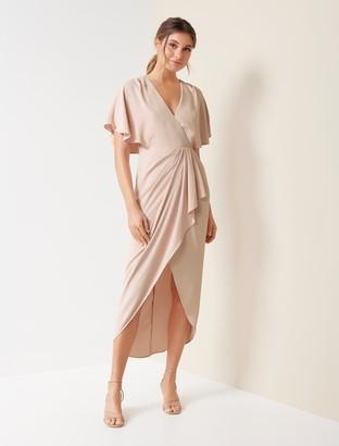 Forever New Jasmine Batwing Wrap Midi Dress - Nude - 10