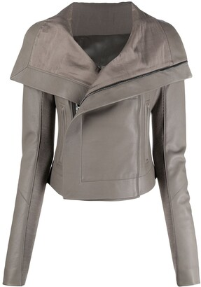 Rick Owens Spread-Collar Leather Jacket