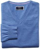 Charles Tyrwhitt Blue Merino Wool V-Neck Sweater Size Large