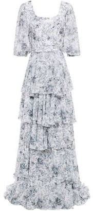 Costarellos Tiered Belted Printed Georgette Gown