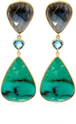 Bahina Chrysoprase, Topaz, Labradorite 18K Yellow Gold Earrings