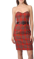 Tartan Plaid Strapless Corset Sheath Dress
