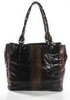 LAI Brown Black Python Leather Textured Embellished Extra Large Tote Bag