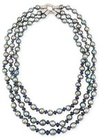 Assael Three-Strand Tahitian Pearl & Sapphire Necklace with Diamonds