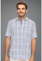 Tommy Bahama Island Modern Fit Paradise Heights Check S/S Woven (Coastline) - Apparel