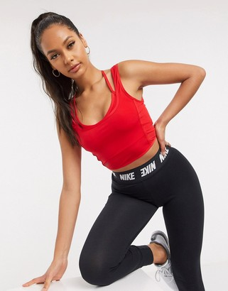 Nike Training 2 in 1 cropped tank in red