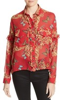 The Kooples Women's Print Ruffled Silk Shirt