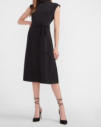 Express Mock Neck Tie Waist Midi Dress