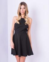 Missy Empire Cyndi Black Halter Neck Skater Dress