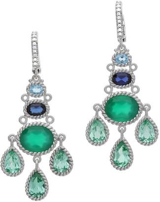 Judith Ripka Sterling Multi-Gemstone & Diamonique Earrings