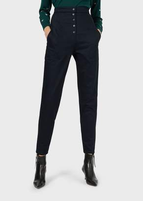Emporio Armani High-Waisted, Cavalry-Twill Trousers With Buttons