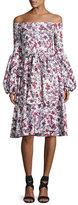 Caroline Constas Gisele Tea-Length Toile Dress, Red Pattern