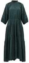Apiece Apart Trinidad Balloon-sleeved Fil-coupe Dress - Womens - Green