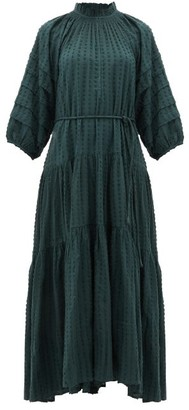 Apiece Apart Trinidad Balloon-sleeved Fil-coupe Dress - Womens - Green