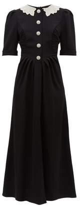 Alessandra Rich Crystal-embellished Slit-front Dress - Womens - Black White
