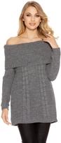 Quiz Grey Cable Knit Bardot Jumper