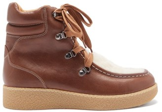 Isabel Marant Alpica Shearling-lined Leather Boots - Tan White