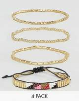 Pieces Geo-Tribal Bracelet Set In Gold