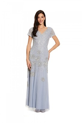 Adrianna Papell Beaded Short Sleeve Gown In Blue Heather