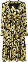 No.21 leaf print long sleeved dress