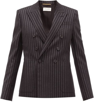 Saint Laurent Double-breasted Lame-striped Wool-blend Jacket - Womens - Black Silver