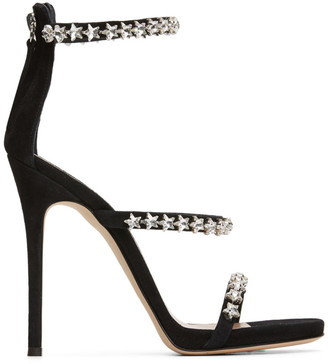 Giuseppe Zanotti Black Suede Star Crystal Heeled Sandals