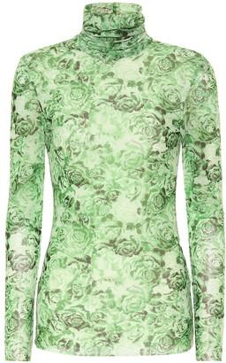 Ganni Floral mesh top