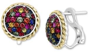 Effy Multi-Sapphire Cluster Stud Earrings in Sterling Silver & 18k Gold-Plate