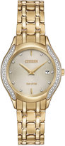 Citizen Women's Eco-Drive Diamond Accent Gold-Tone Stainless Steel Bracelet Watch 27mm GA1062-51P